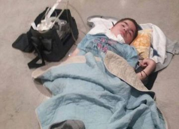 A terminally ill boy was forced onto the floor at…