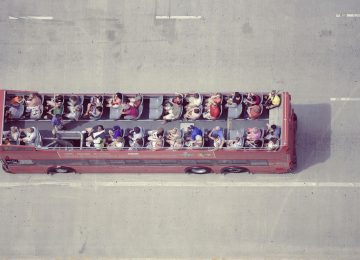 PIC: The view from above of a London double-decker tour bus