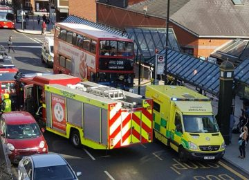 A passenger was rescued in Bromley as a bus ploughed into a shopping centre