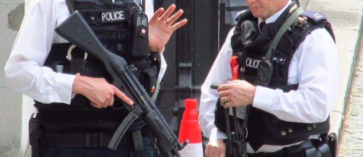 """Armed police are positioned on the Tube after """"bomb alert"""""""