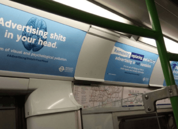 "Tube adverts defaced because they ""sh*t in your head"""