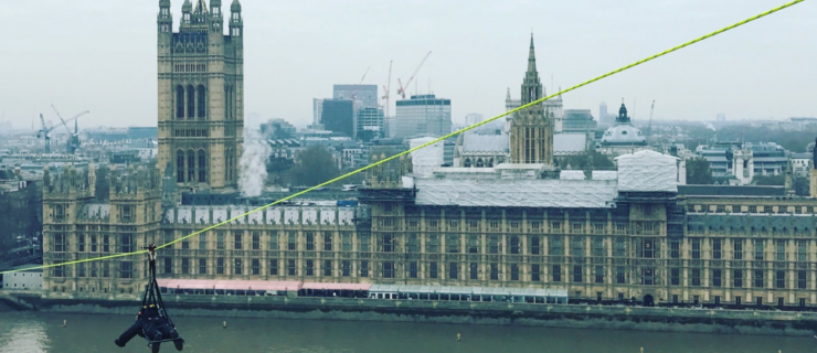 This is the scary zipwire installed across the Thames today in a charity stunt
