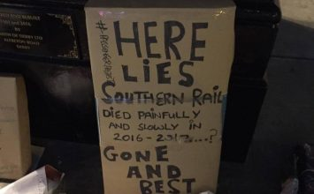 """Here lies Southern Rail"": beleaguered commuters set up tongue-in-cheek fake shrine"